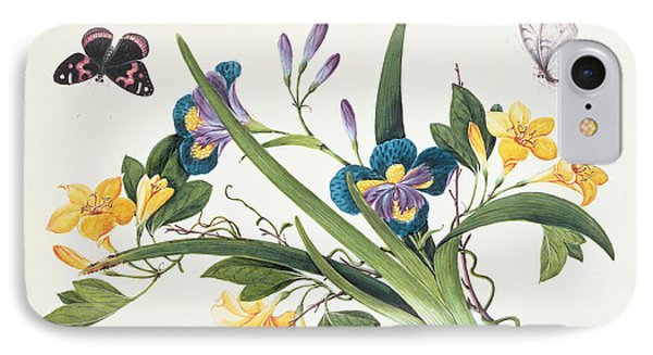 Blue Iris And Insects IPhone Case