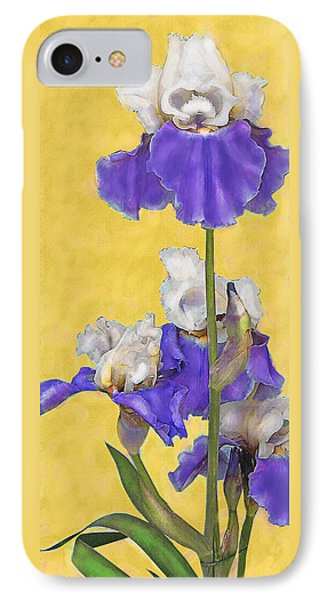 IPhone Case featuring the digital art Blue Iris On Gold by Jane Schnetlage