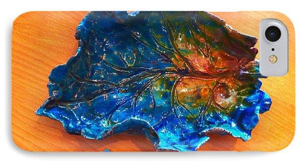 Blue Leaf Ceramic Design 3 Phone Case by Joan-Violet Stretch