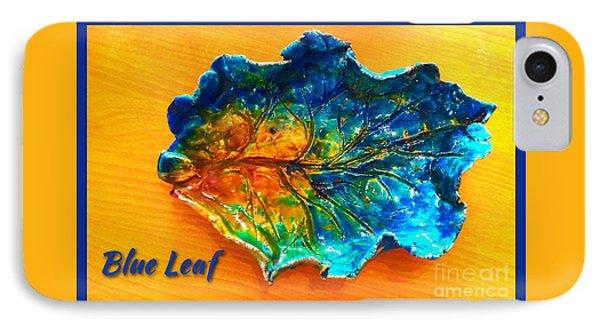 Blue Leaf Ceramic Design Phone Case by Joan-Violet Stretch