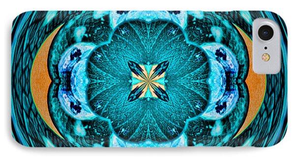 Blue Leaf Mandala Kaleidoscope IPhone Case