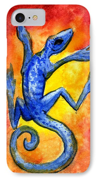 IPhone Case featuring the painting Blue Lizard by Sean Seal