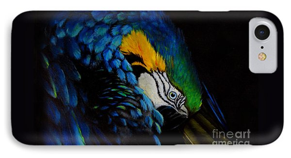 IPhone Case featuring the painting Blue Macaw by Nancy Bradley