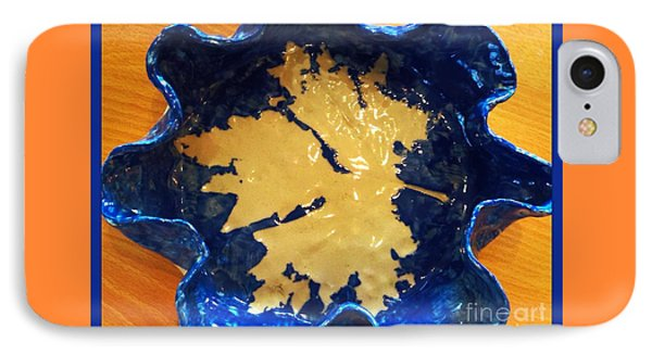 Blue Maple Leaf Dish Phone Case by Joan-Violet Stretch