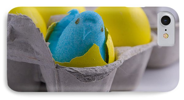 Blue Marshmallow Chick Hatched In Egg Carton IPhone Case by Juli Scalzi