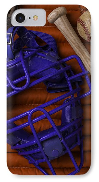 Blue Mask With Bat And Ball IPhone Case by Garry Gay