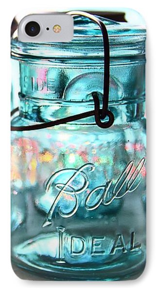 IPhone Case featuring the photograph Blue Mason Jars by Elizabeth Budd