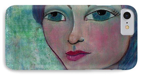 Blue Mermaid Girl IPhone Case by Lisa Noneman