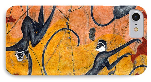 Blue Monkeys No. 9 - Study No. 4 Phone Case by Steve Bogdanoff