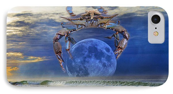 Blue Moon Crab IPhone Case by Betsy Knapp