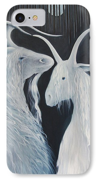 IPhone Case featuring the painting Blue Moon Goats by Tone Aanderaa