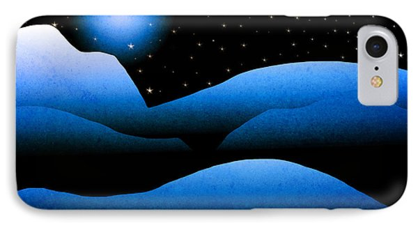 Blue Moon Mountain Landscape Art IPhone Case by Christina Rollo