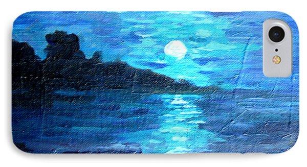 blue moon over lake couer da  lane Idaho IPhone Case by Joseph Hawkins
