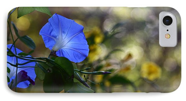 Blue Morning Glories IPhone Case by Linda Unger