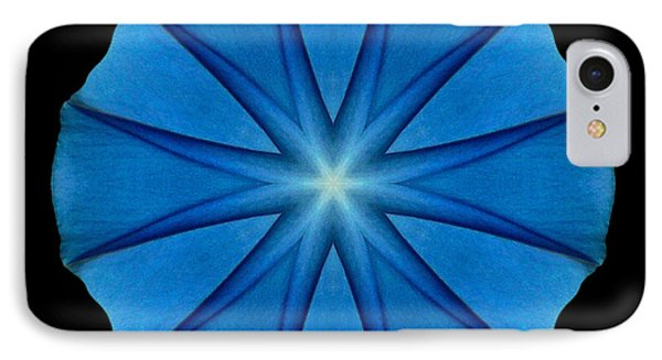 Blue Morning Glory Flower Mandala Phone Case by David J Bookbinder