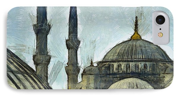 Blue Mosque Drawing IPhone Case