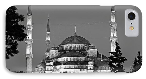 Blue Mosque In Black And White Phone Case by Stephen Stookey