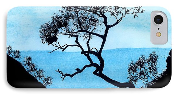 IPhone Case featuring the drawing Blue Mountain by D Hackett