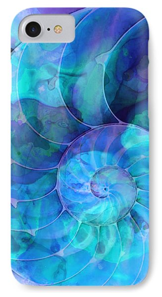 Blue Nautilus Shell By Sharon Cummings IPhone Case by Sharon Cummings