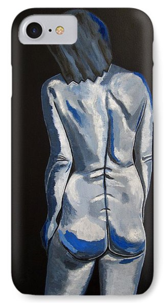 Blue Nude Self Portrait Phone Case by Sandra Marie Adams