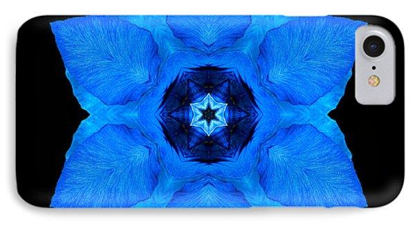 Blue Pansy II Flower Mandala IPhone Case by David J Bookbinder
