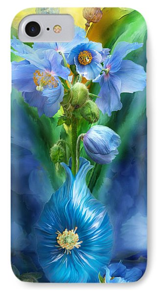 Blue Poppies In Poppy Vase Phone Case by Carol Cavalaris