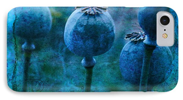 IPhone Case featuring the photograph Blue Poppy Grunge by Sandra Foster