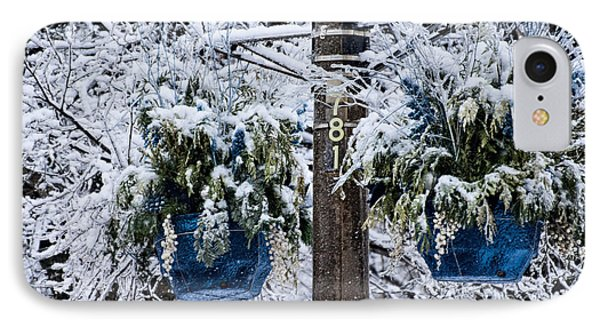 Blue Pots After Ice And Snow Storms IPhone Case by Gerda Grice