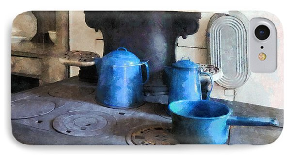 Blue Pots On Stove Phone Case by Susan Savad