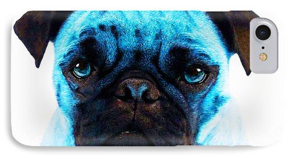 Blue - Pug Pop Art By Sharon Cummings Phone Case by Sharon Cummings