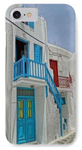 Blue Railing With Stairway In Mykonos Greece Phone Case by M Bleichner