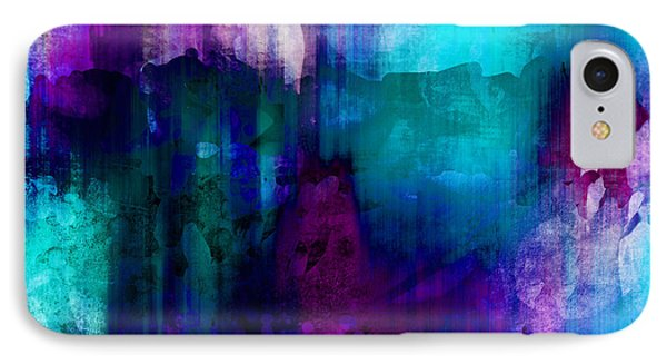 Blue Rain  Abstract Art   IPhone 7 Case by Ann Powell