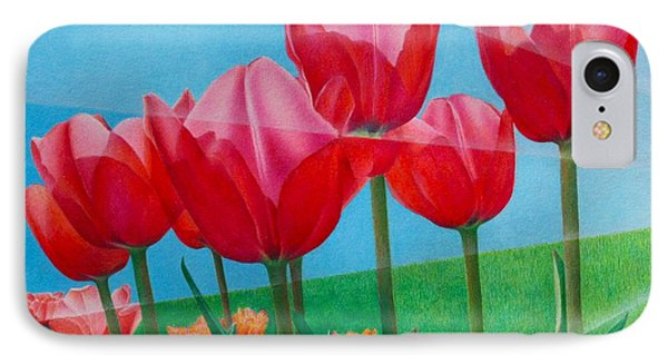 IPhone Case featuring the painting Blue Ray Tulips by Pamela Clements