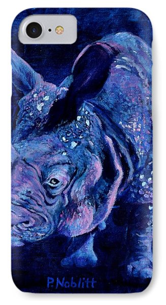 Indian Rhino - Blue IPhone Case by Paula Noblitt