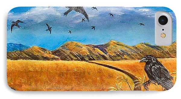 IPhone Case featuring the painting Blue Ribbon Crows by Susan Culver