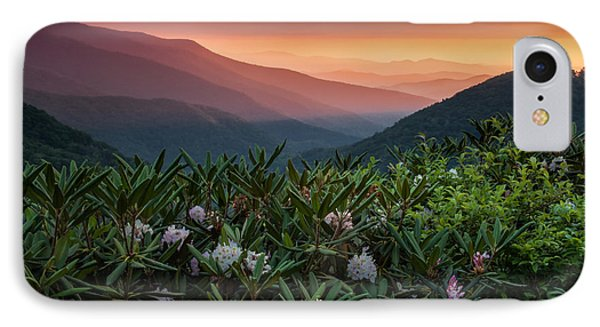 Blue Ridge Morn With Rose Bay Rhododendron  Phone Case by Rob Travis