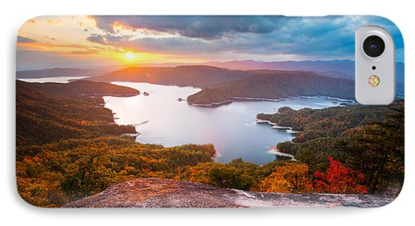 Blue Ridge Mountains Sunset - Lake Jocassee Gold Phone Case by Dave Allen
