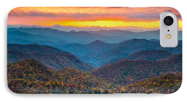 Blue Ridge Parkway Fall Sunset Landscape - Autumn Glory IPhone Case