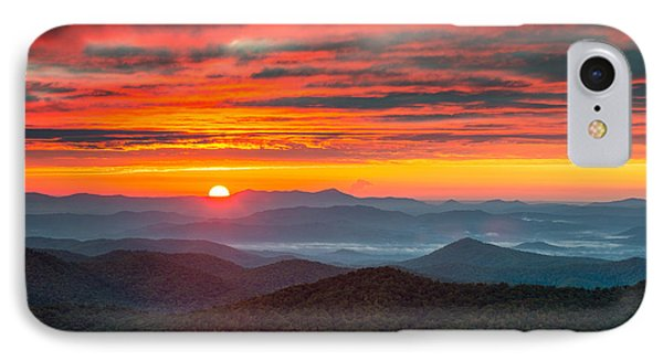North Carolina Blue Ridge Parkway Nc Autumn Sunrise IPhone Case by Dave Allen