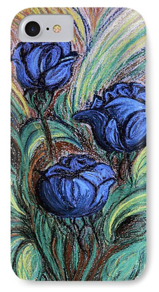 IPhone Case featuring the painting Blue Roses by Jasna Dragun