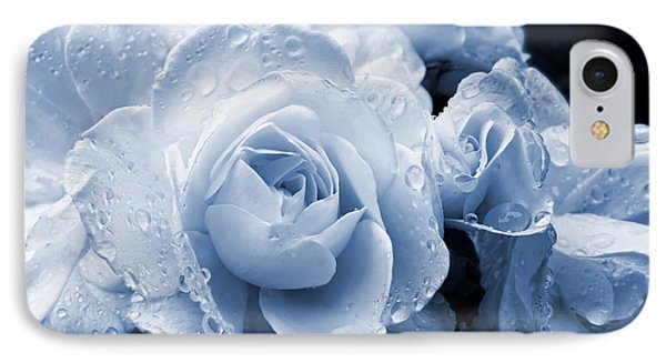 Blue Roses With Raindrops Phone Case by Jennie Marie Schell
