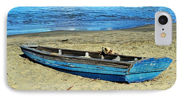 Blue Rowboat IPhone Case by Holly Blunkall
