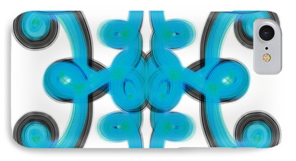 IPhone Case featuring the digital art Blue Scroll Square by Christine Fournier