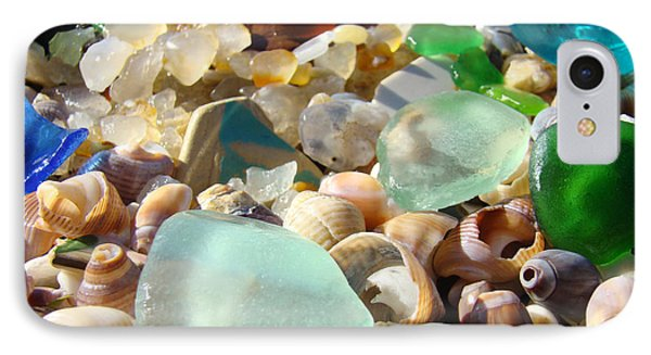 Blue Seaglass Beach Art Prints Shells Agates IPhone Case by Baslee Troutman