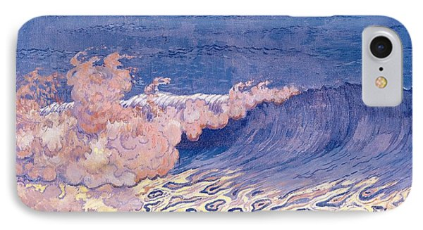 Blue Seascape Wave Effect Phone Case by Georges Lacombe