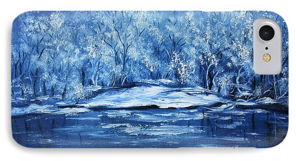 IPhone Case featuring the painting Blue Silence by Vesna Martinjak