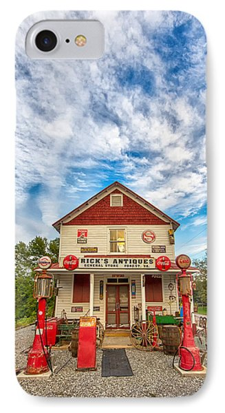 IPhone Case featuring the photograph Blue Sky Over Rick's Antiques by Alan Raasch