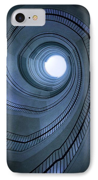 Blue Spiral Staircaise Phone Case by Jaroslaw Blaminsky
