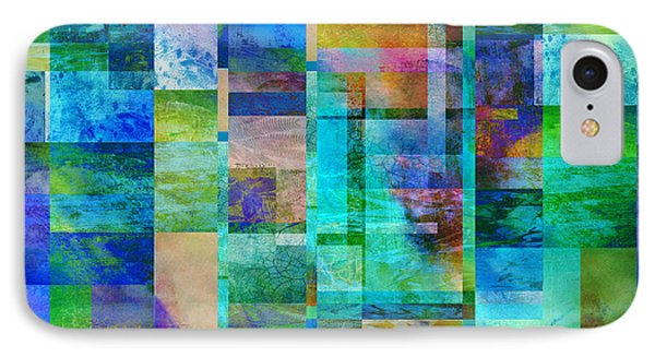 Blue Squares Abstract Art Phone Case by Ann Powell