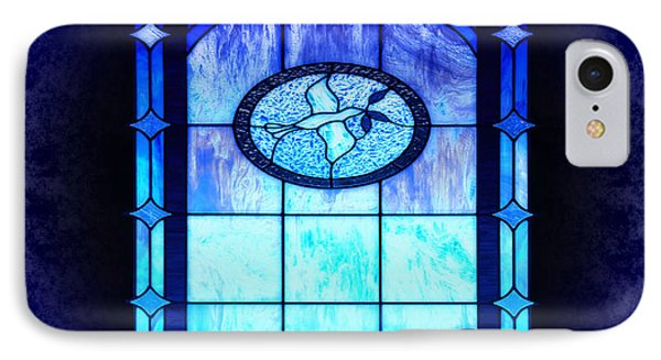 Blue Stain Glass With Dove IPhone Case